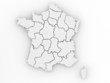 Three-dimensional map of France on white isolated background