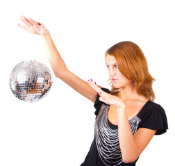 Woman and mirror-ball