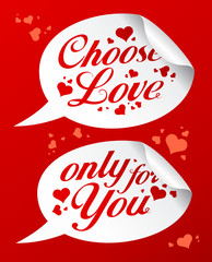 Choose love stickers in form of speech bubbles.