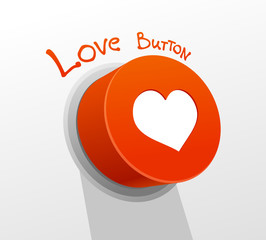 Red love button with heart.