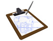 Clipboard with a blueprint sketch over a white background