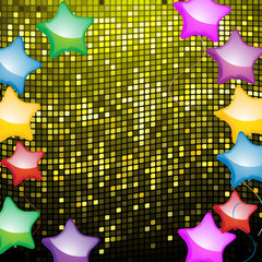 star shaped balloons on mosaic background