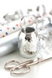 wrapping paper and silver ribbon