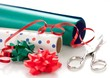 wrapping paper, ribbon and scissors