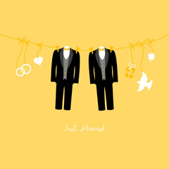 Hanging Wedding Grooms Just Married Gold