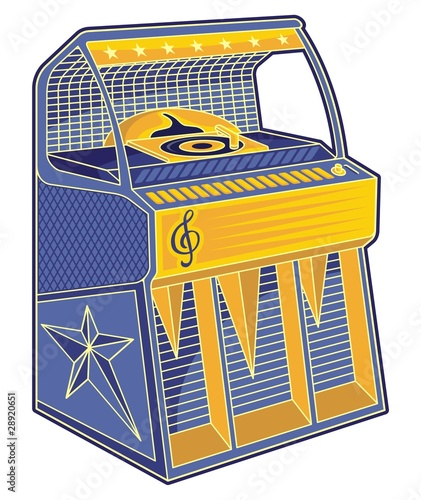 Retro jukebox lineart