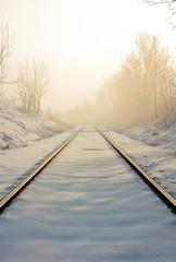 Train tracks in winter