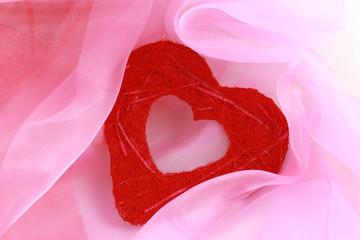 coeur et tissu rose
