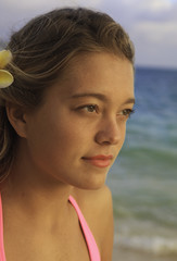 portrait of a girl on a hawaii beach