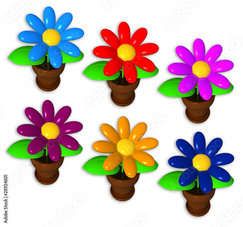 different synthetic flowers on the white background, isolated