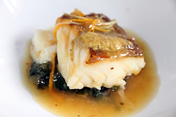 Cod fillet with vegetables and  sauce Andalusia Spain