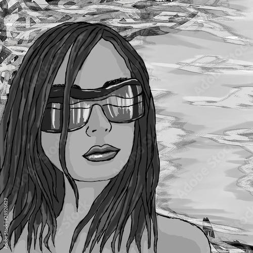 Grunge hand-drawn girl painting