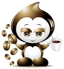 Caffe Goccia Cartoon-Coffee Drop Cartoon-Vector