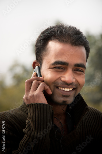 Indian man Busy on cell phone