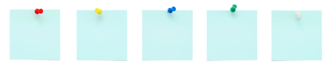 Blue post it notes with push pins