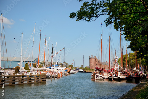Village in Holland with harbor and castle