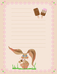 bunny eating a popsicle notepad