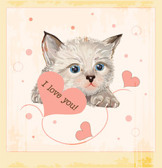 Valentines day greeting card with kitten and hearts
