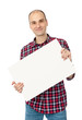 happy handsome young man holding blank white card