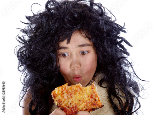 neanderthal eating a slice of pizza