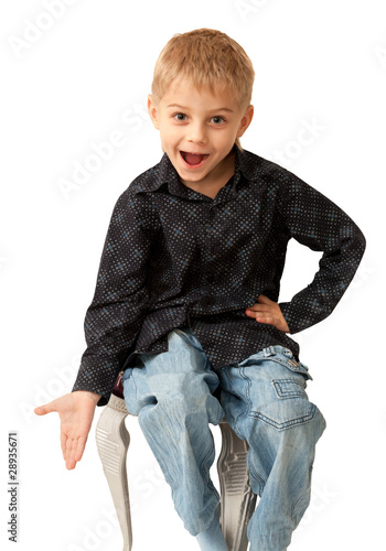 Amazing four year old boy emotionally asking. Isolated on white