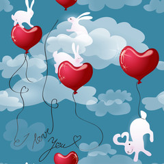 Texture Rabbits with Valentine hearts in the sky