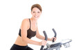 Young Woman Riding Exercise Bike Isolated White Background