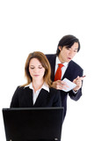 Asian Business Man Cheating Stealing Shoulder Surfing Isolated poster