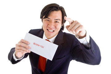Angry Asian Businessman Pointing Envelope Screw You Isolated