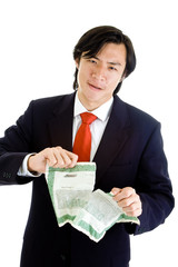 Upset Asian Man Suit Tearing Stock Certificate, Isolated White