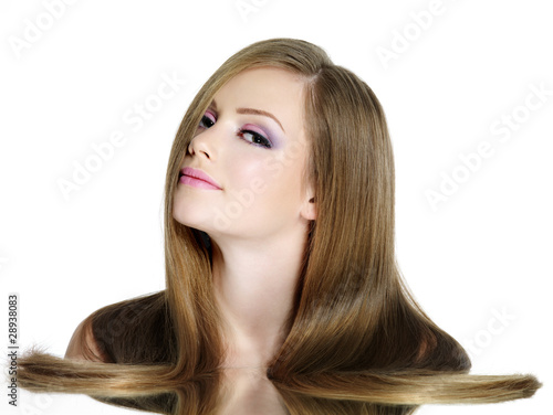 Teen girl with long straight hair