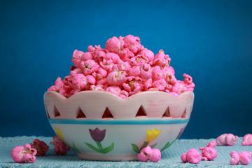 Bowl of Pink popcorn