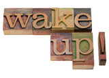 wake up - phrase in vintage letterpress type poster