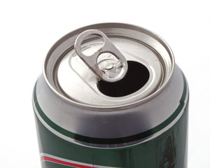 Top of an open drink can over a white background .