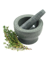 Mortar and Pestle with Thyme