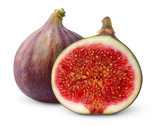 Isolated figs. One whole and one half fresh fig fruits isolated on white background