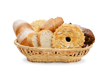 Basket of various fresh baked bread