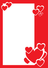 Red and white hearts, decorative border