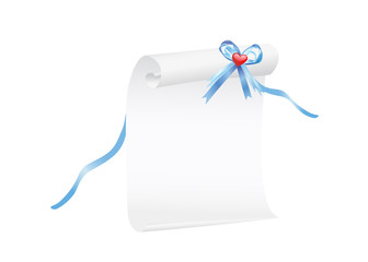 Scroll of white paper with a blue ribbon and red heart