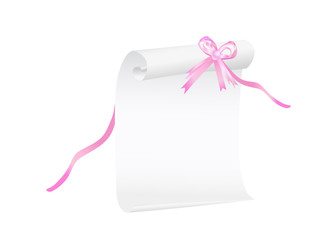 Scroll of white paper with a pink ribbon