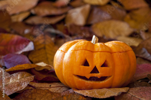 Jack-o-Lantern with Leaves