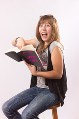 Excited Girl Reading