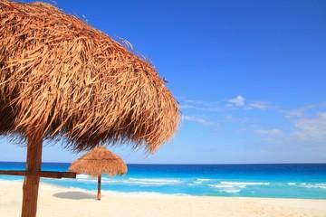 palapa sun roof beach umbrella in caribbean