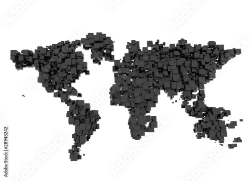 world map Abstract cubes
