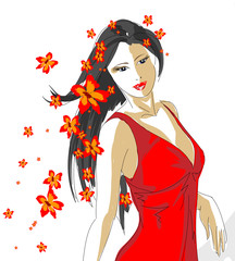 Hand-drawn fashion model. Vector spring girl