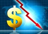 Dollar decreasing value illustration poster