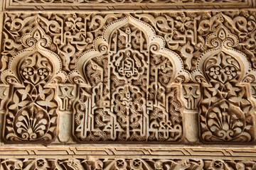 Ornate carvings at the Alhambra palace in Granada Spain