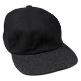 Fine wool black baseball style cap, grey brim, isolated men hat