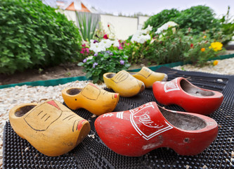 Traditional Dutch Decoration wooden shoes on doorstep