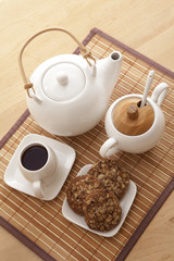 Top view of a tea set for one person